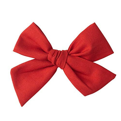 Handmade Cotton Hair Bows For Baby Girls and Toddlers (One Size Fits All) (Red, -