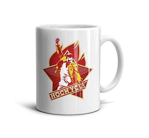 (HGT-YUS White Ceramic Glossy Ceramic Coffee Mug 11 oz Freddie-Mercury-Logo- Inspirational Drinks)