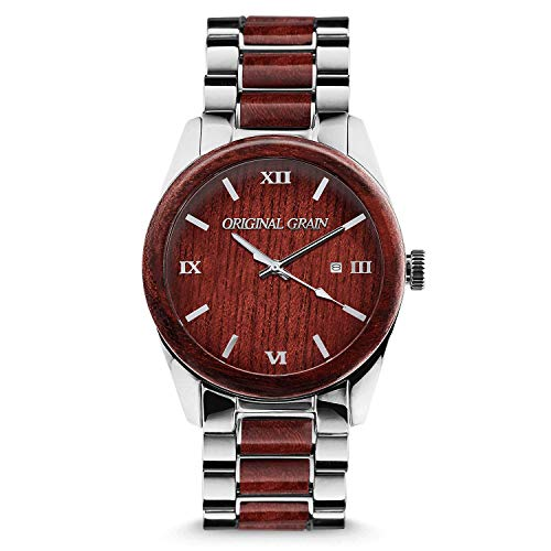 Original Grain Rosewood Chrome Wood Watch - Classic Collection Analog Watch - Japanese Quartz Movement - Wood and Chrome Stainless Steel - Water Resistant - Wrist Watch for Men - 43MM