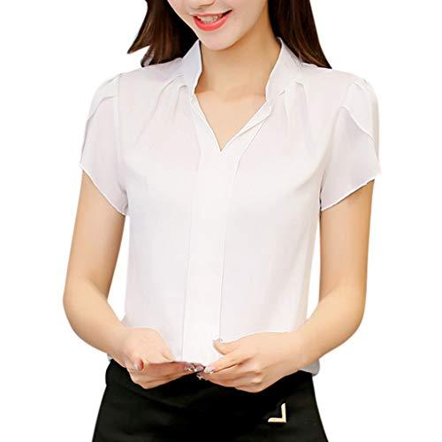 Pervobs Women Casual Summer T-ShirtsV Neck Short Sleeve Solid Chiffon Work Office Shirts Blouse Top Blusa(M, Z10-White)