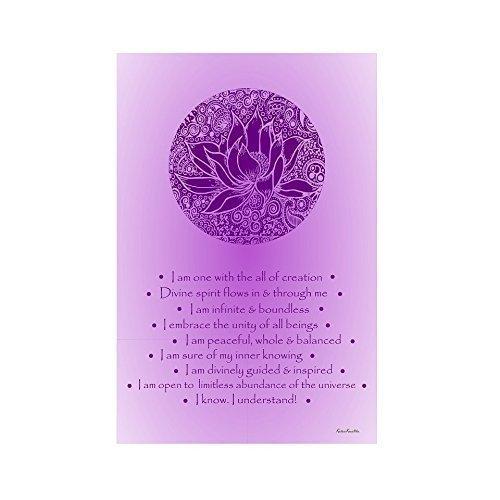 Affirmations Series - Crown Chakra Purple Lotus- Large Chakra Posters,Healing Poster,Yoga Poster,Meditation Poster,Chakra Poster,Poster Meditation,Reiki Poster,Affirmation Poster,chakras poster by KalaaWorks - Handmade By Kalaa Kreatika