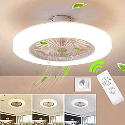 BEHWU Ventilador de techo Lámpara de techo, moderna LED Ventilador De Techo Control remoto de correa regulable Decoración de interiores Plafón de ...