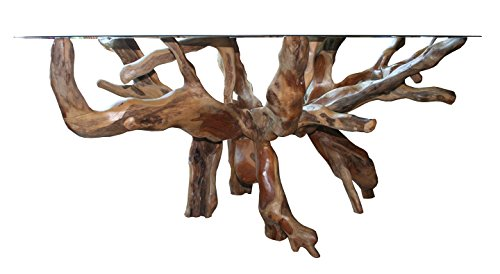 Solid Teak Root Rustic Rectangular Dining Table with Glass Top, 55