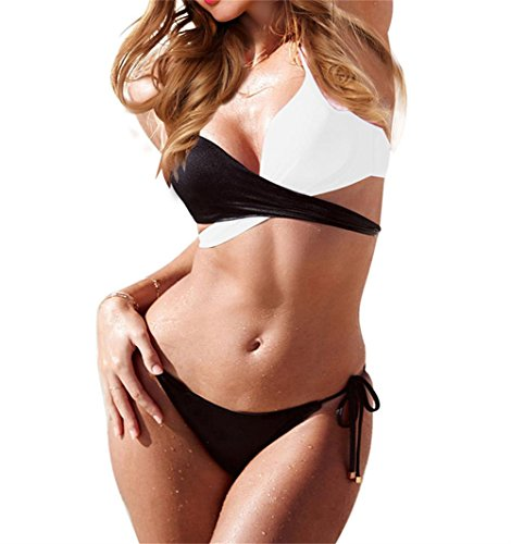 Women's Two Piece Colorblock Criss Cross Top Tie Side Bikini Bottom Swimsuits (L, White)