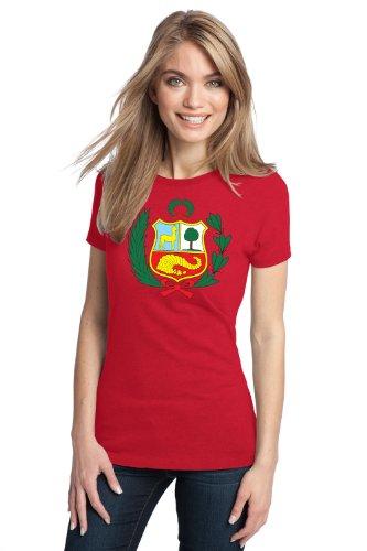 PERUVIAN COAT OF ARMS FLAG Ladies' T-shirt / Peru, Escudo Bandera Camiseta para Lima, Arequipa, Cusco, y Puno