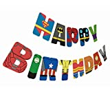 Gyzone Superhero Birthday Garland Banner Supplies for Kids and Adults Birthday Party Decorations Party Supplies