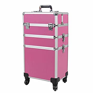 ef148c326917 Topwigy Cosmetic Rolling Case Universal Wheel 3 in 1 Professional  Multifunction Artist Rolling Trolley Makeup Train