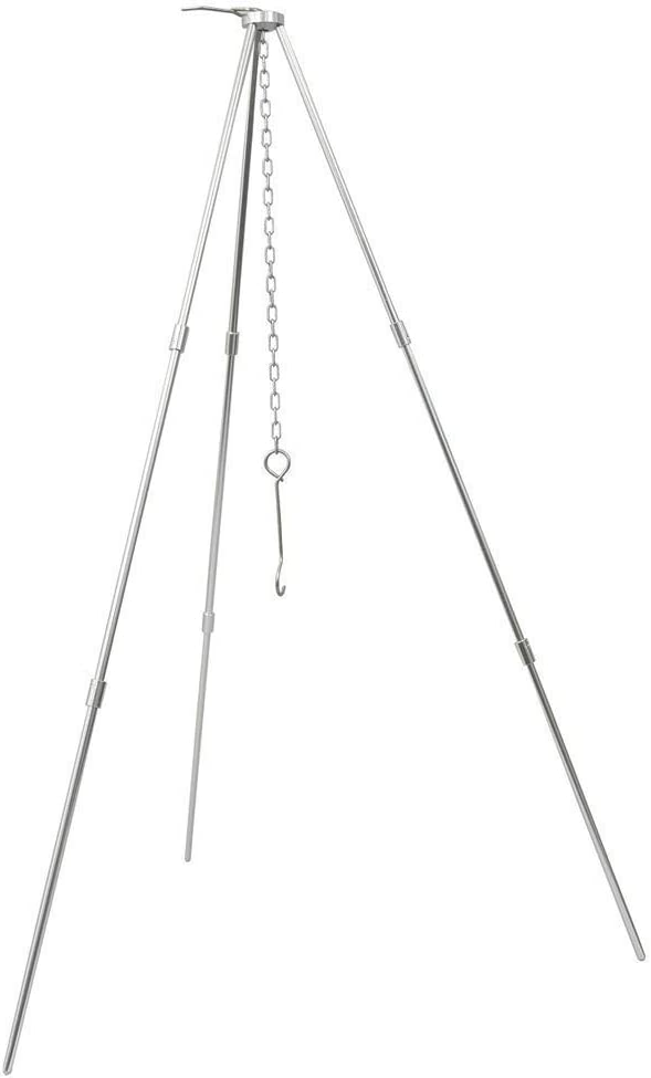 Sutekus Camp Fire Tripod Portable Campfire Cooking Dutch Oven Tripod and Lantern Hanger Silver