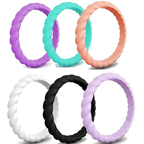 Kingray Jewelry SIX Rings Pack, 3mm Braided Silicone Rubber Wedding Band Stackable Ring (11)