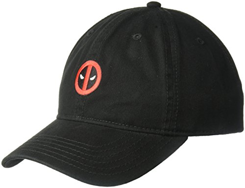Marvel Men's Embroidered Deadpool Baseball Cap, 100% Washed Cotton Twill, Black, one Size
