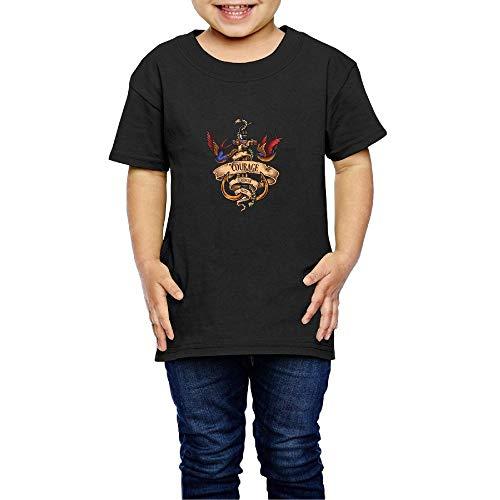 Shenigon Alphabet Parrot Toddler Short Sleeve T-Shirt Cozy Top for Little Boy & Girl Black 5-6 ()
