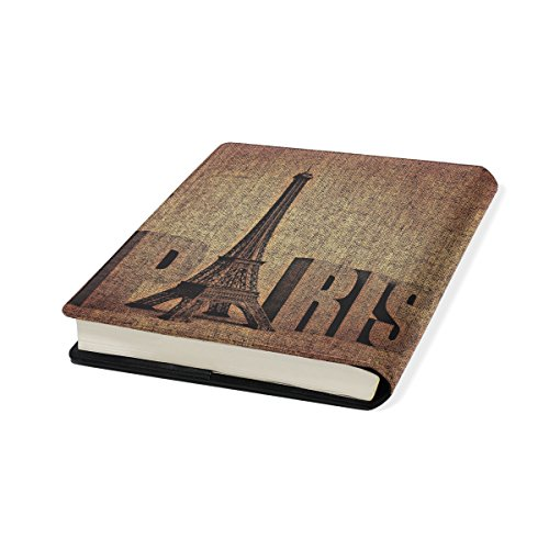 Paris Tower Stretchable Leather Book Covers Standard Size for Student Hardcover Textbooks Fits up to 9x11-Inch for School Girls Boys Gift by FeiHuang
