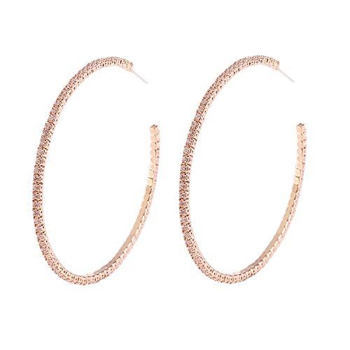 YILIBAO Silver Large Hoop Earrings Round Circle Cubic Zirconia Loop Earrings for Women