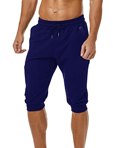 Ouber Men's 3/4 Joggers Pants Slim Fit Training Workout Gym Shorts with Zipper Pocket ()