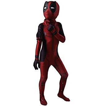 Toddler Kid's Halloween Costume Deadpool Jumpsuit 3D Printed Full Bodysuit Cosplay Outfit (Child-Medium, Red)