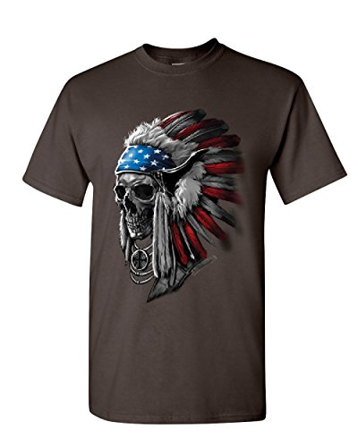 T-Shirt Native American Stars and Stripes Mens Tee Shirt Brown S ()