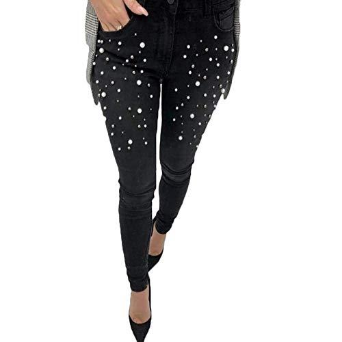 Poches Haute Minces Avant Unie Femmes Des Crayon Taille Jeans Mode Schwarz Pour Élastique Boutons Couleur Extensibles xqIwHgz