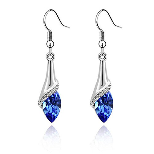 Blue Long Dangle Water Drop Element Set Luxurious Crystal Fashion Earrings Pendant Girl for Wedding,Valentines-day,Mothers-day,Anniversary,Birthday,Party,Prom(Blue)