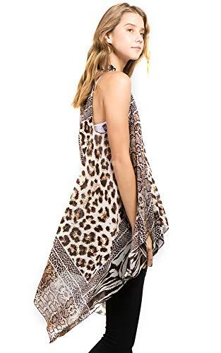 (CCFW Sleeveless Animal Printed Hem Open Front Cardigan Multi Scarf Vest (Brown Multi))