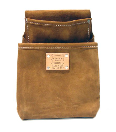 Pocket Drywall Pouch - Heritage Leather 483SP 2-Pocket Professional Split Leather Drywall Pouch