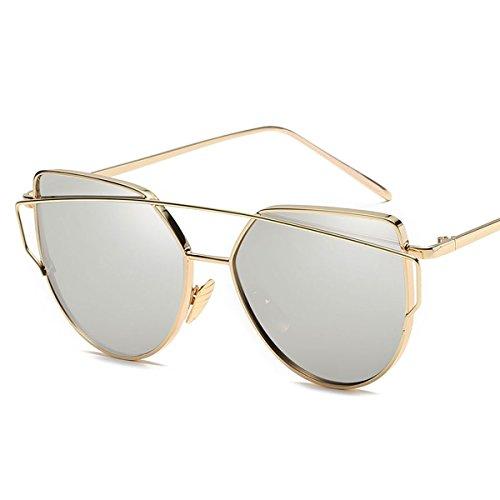 ASLNsong Women's Cat Eye Sunglasses Flat Lenses Oversized Mirrored Sunglasses GL107 (Gold/Silver, - Eyeball Sunglasses