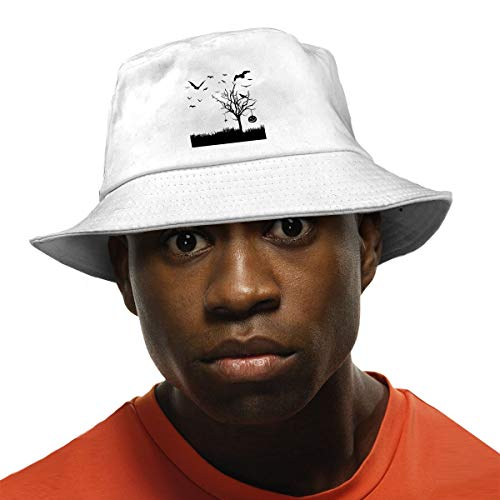 Novelty Colorful Packable Reversible Printed Halloween Scene Silhouette Fisherman Bucket Sun Hat for Unisex White