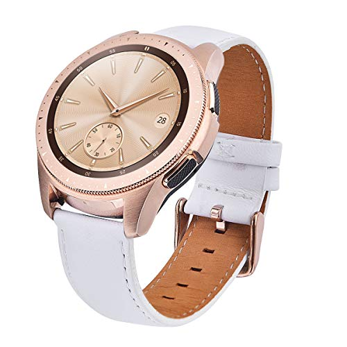 Compatible with Galaxy Watch 42mm Bands,TOROTOP 20MM Genuine Leather Strap Replacement Band Strap for Samsung Galaxy Watch 42mm (Rose Gold) Band(White)