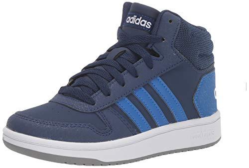 adidas Unisex Hoops Mid 2.0 Sneaker, Dark Blue/White, 3 M US Little Kid (High Top Sneaker Girls)