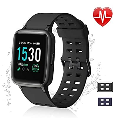 """LETSCOM Fitness Tracker, Activity Tracker 1.3"""" Color Screen Watch with Heart Rate Monitor Pedometer Sleep Monitor Step Calorie Counter, Waterproof Smart Watch for Women Men by LETSCOM"""