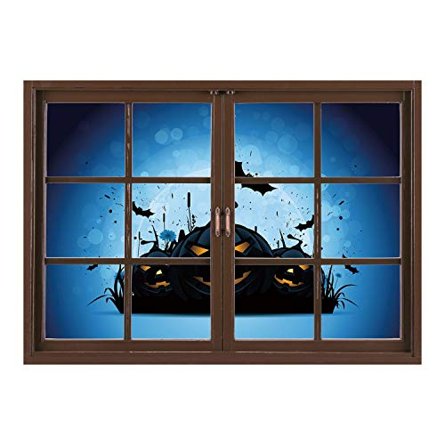 SCOCICI Window Mural Wall Sticker/Halloween,Scary Pumpkins in Grass with Bats Full Moon Traditional Composition Decorative,Black Yellow Sky Blue/Wall Sticker Mural