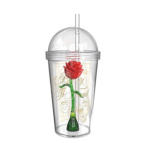 (Zak Designs Disney Beauty and The Beast Enchanted Rose Drink Cup Tumbler for Kids, 23oz Capacity, Includes Straw and Snap-on Lid,)