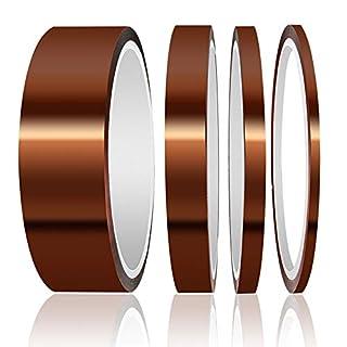 High Temp Tape, ELEGOO 4 Pack Polyimide High Temperature Resistant Tape Multi-Sized Value Bundle 1/8'', 1/4'', 1/2'', 1…