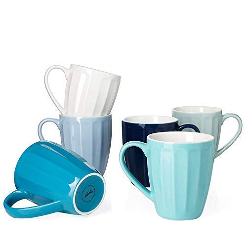 (Sweese 6210 Porcelain Fluted Mugs - 14 Ounce for Coffee, Tea, Cocoa, Set of 6, Cold Assorted)