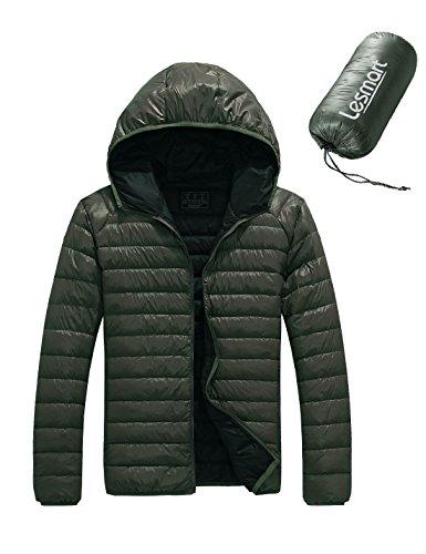 Lesmart Uomo Inverno Down Jacket 90% piume d'anatra bianca con cappuccio cappotto leggero Taglia EUR56/2XL Verde Oliva