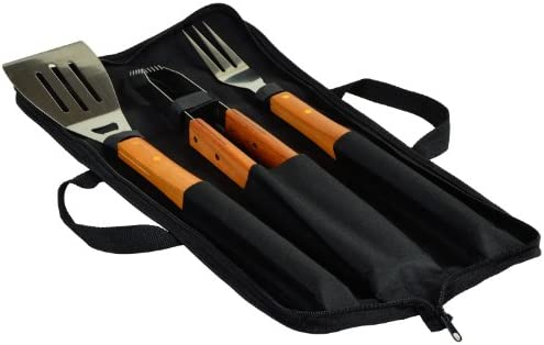 Picnic at Ascot 3 Piece BBQ Tool Set with Wood handles and Carry Case