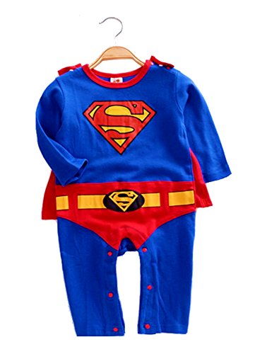 Superman Costume Changes (VogueFashion Baby Superhero Jumpsuit (0-6 Months, Blue)