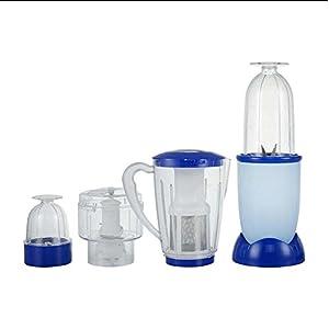 OOFYHOME Electric Blender, 4 in 1 Multifunctional Food processor, Juicer & meat Grinder, Vegetable Chopper , Fruit Blender and Mincer-Light Blue