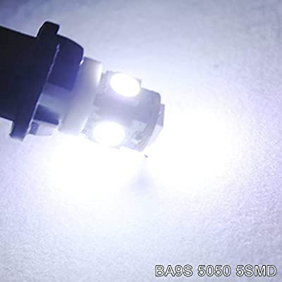 EverBrightt 20-Pack White BA9S 5050 5SMD Led License Plate Light Bulb for Car Replacement Lights Door Light 12V: Automotive