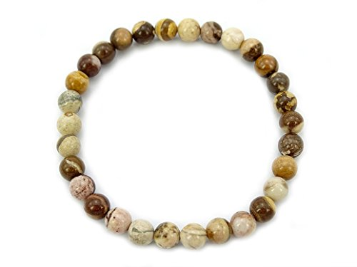 jennysun2010 Handmade Natural Australia Brown Zebra Jasper Gemstone Smooth Round Loose Beads 6mm Stretchy Bracelet Healing  7'' Inches Wrist ( 30pcs Beads in The Bracelet )