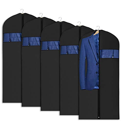 Univivi Garment Bag Suit Bag for Storage and Travel 43 inch, Anti-Moth Protector, Washable Suit Cover for T-Shirt, Jacket, Suits, Coats, Set of 5 (Garment Closet Bag)