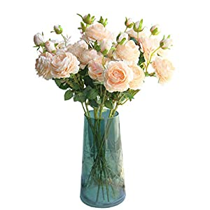 cn-Knight Artificial Flower 8pcs 24'' Silk Peony Long Stem with 2 Blossoms and 1 Bud Faux Flower for Wedding Bridal Bouquet Bridesmaid Home Décor Office Baby Shower Centerpiece 43
