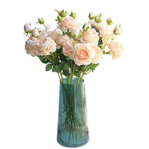 24 Artificial Silk Flower Stem - cn-Knight Artificial Flower 8pcs 24'' Silk Peony Long Stem with 2 Blossoms and 1 Bud Faux Flower for Wedding Bridal Bouquet Bridesmaid Home Décor Office Baby Shower Centerpiece(Champagne)