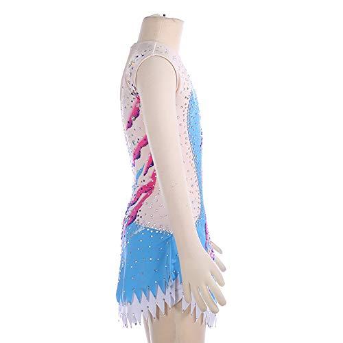 A Hecho Mangas Competición Mano Vestido Mujeres Azul Niñas Sobre Gimnasia De Patinaje Artístico Para Traje Hielo Sin Leotardos Y q5Hgxdw