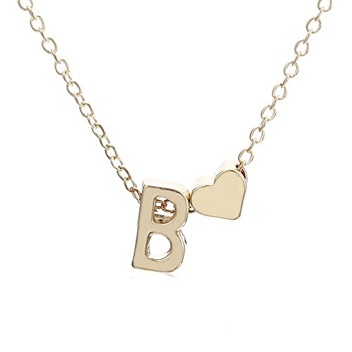 Dwcly Fashion Women Love Heart Initial Necklace Personalized Letter Necklace Name Jewelry for Girls Love Gift for Girlfriend (B) ()