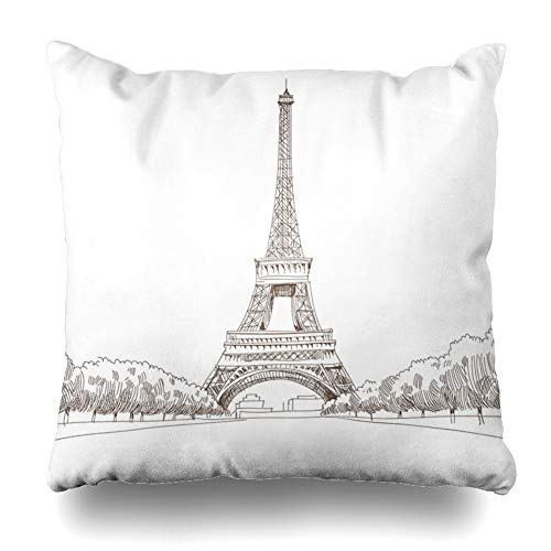 Ahawoso Throw Pillow Cover Elysian Drawing Eiffel Tower Paris Parks Minimalism Drawn Sketch City France Fields Design Decorative Pillowcase Square Size 20