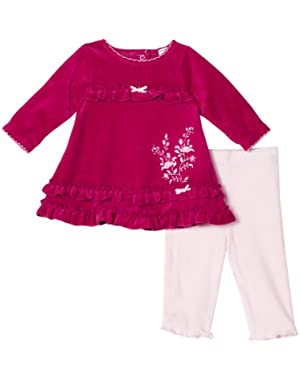 Baby-Girls Newborn Rose Bouquet Dress and Legging Set