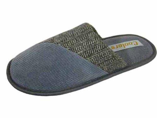 Coolers Mens Dimpled Herringbone Fleece Fabric Mule Slippers - Brown - 7-8 UK LHD0ffzLif