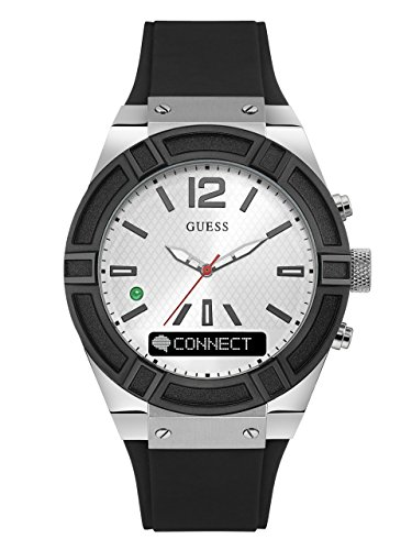 GUESS-Womens-CONNECT-Smartwatch-with-Amazon-Alexa-and-Silicone-Strap-Buckle-iOS-and-Android-Compatible-Silver