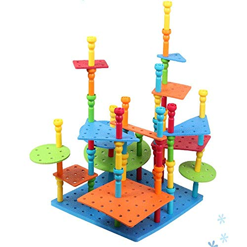 - WIZCOM Bubbles Blocks Pegs Model Building Logical Thinking Set Rubber Tower Mats Educational Toys