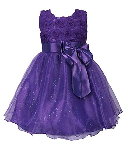 (MOREMOO Girl Pageant Party Formal Dress Ceremony Flower Communion Dress(Purple)